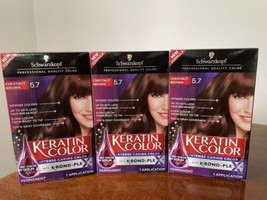 3x Schwarzkopf Keratin Color Professional Quality Hair Dye 5.7 Chestnut Brown - $37.61