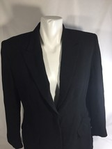 Ann Klein Petite Women Black Blazer Jacket Only  2 Buttons Stretch  Size 10 - $18.70