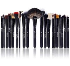 Makeup Brush Set 24 Pc Handmade Natural/Synthetic Bristle Shany Pro Sign... - $46.12