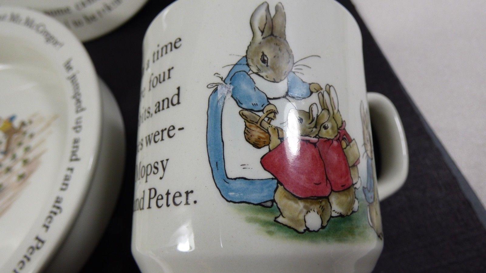 Wedgwood England Peter Rabbit Children 3 Piece Nursery story Set bowl plate cup image 5