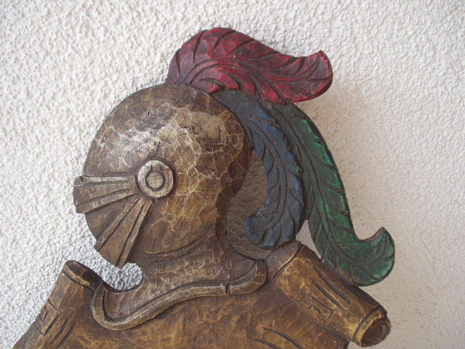 Antique 1900 German black forest carved wood shield medieval knight shop sign image 2