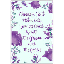 Floral Purple and Teal Wedding Choose a Seat Not a Side Poster - $19.31+