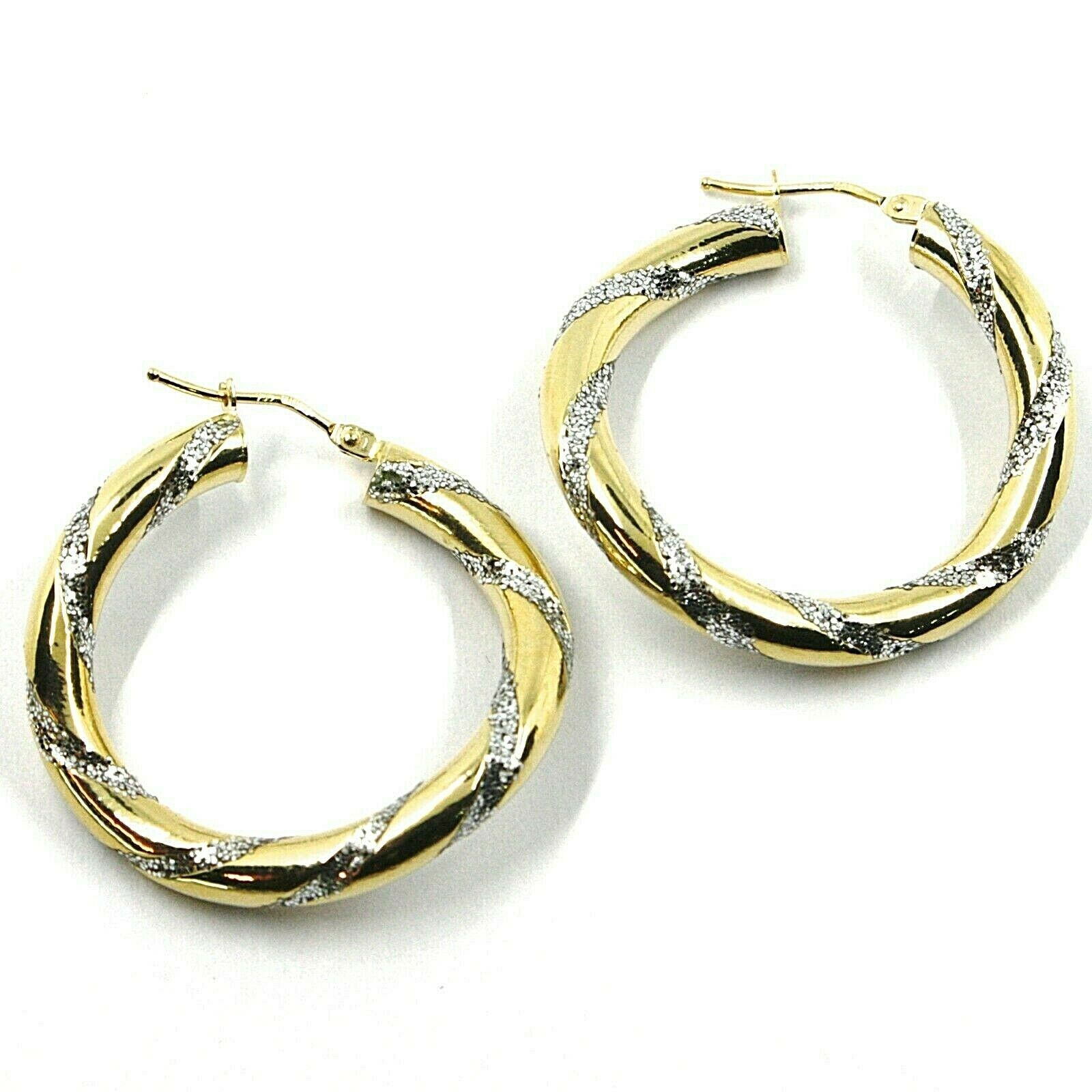 18K YELLOW WHITE GOLD CIRCLE HOOPS PENDANT EARRINGS, 3.1cmx4mm TWISTED, GLITTER