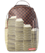 Sprayground Stacks In Paris Brown Damier Pattern Cash Book Bag Backpack ... - $125.29