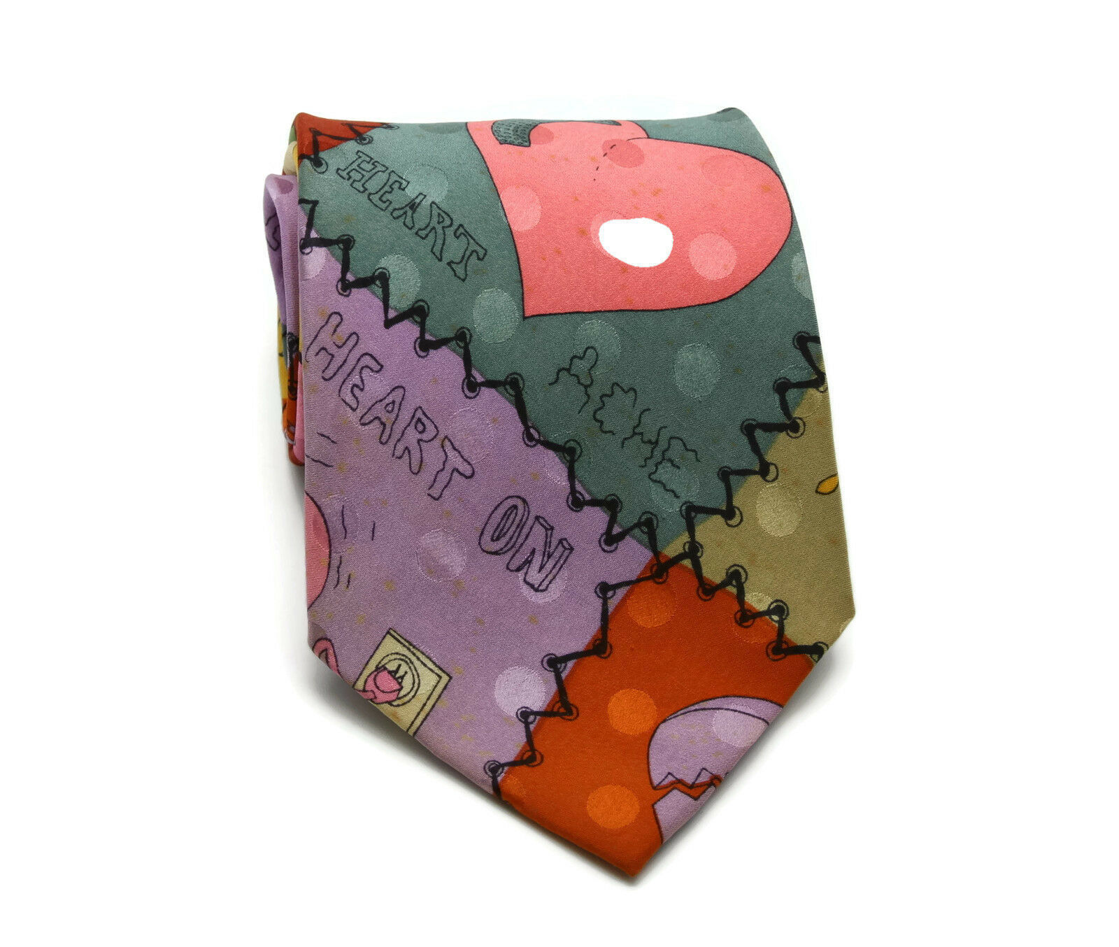 Vintage 1990 NICOLE MILLER Valentine Heart Break Ache Print Mens Silk Neck Tie