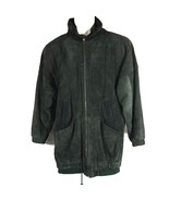 VTG Paris Sport Club Coat Small Leather Dark Green Navy Blue Lined 80s 90s - $34.82