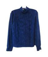 1980s vintage cobalt blue paisley jacquard strong shoulder shirt medium ... - $24.74