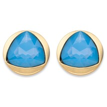 Triangle-Cut Faceted Blue Crystal Gold Tone Bezel-Set Stud Earrings (14mm) - $212,66 MXN