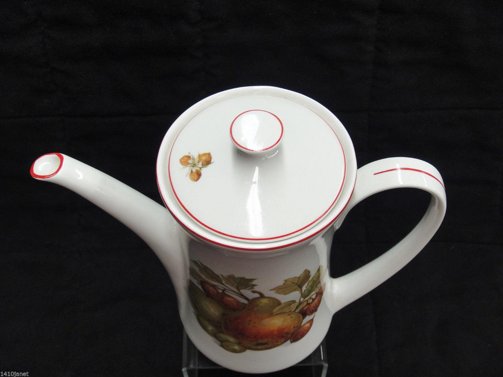 Pontesa Spain Four Cup Coffee Set Pot Sugar and Creamer Fruit Design Red Trim image 5