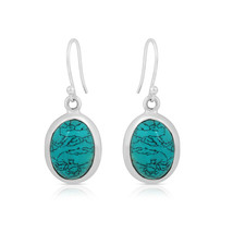 Oval Turquoise 925 Sterling Silver Vintage Style Handmade Dangle Drop Ea... - $22.99