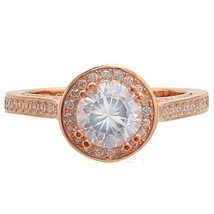 Dainty Cubic Zirconia CZ Rose Sterling Silver Halo Engagement Ring-Wedding - $39.99