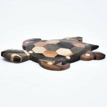 Northwoods Handmade Wooden Parquetry Sea Turtle Sculpture Figurine image 2