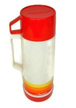 Vtg Aladdin Thermos 70s Pint Size Plastic Red Yellow Orange Stripes Retr... - $14.95