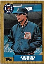 1987 Topps Baseball Card, #384, Johnny Grubb, Detroit Tigers - $0.99
