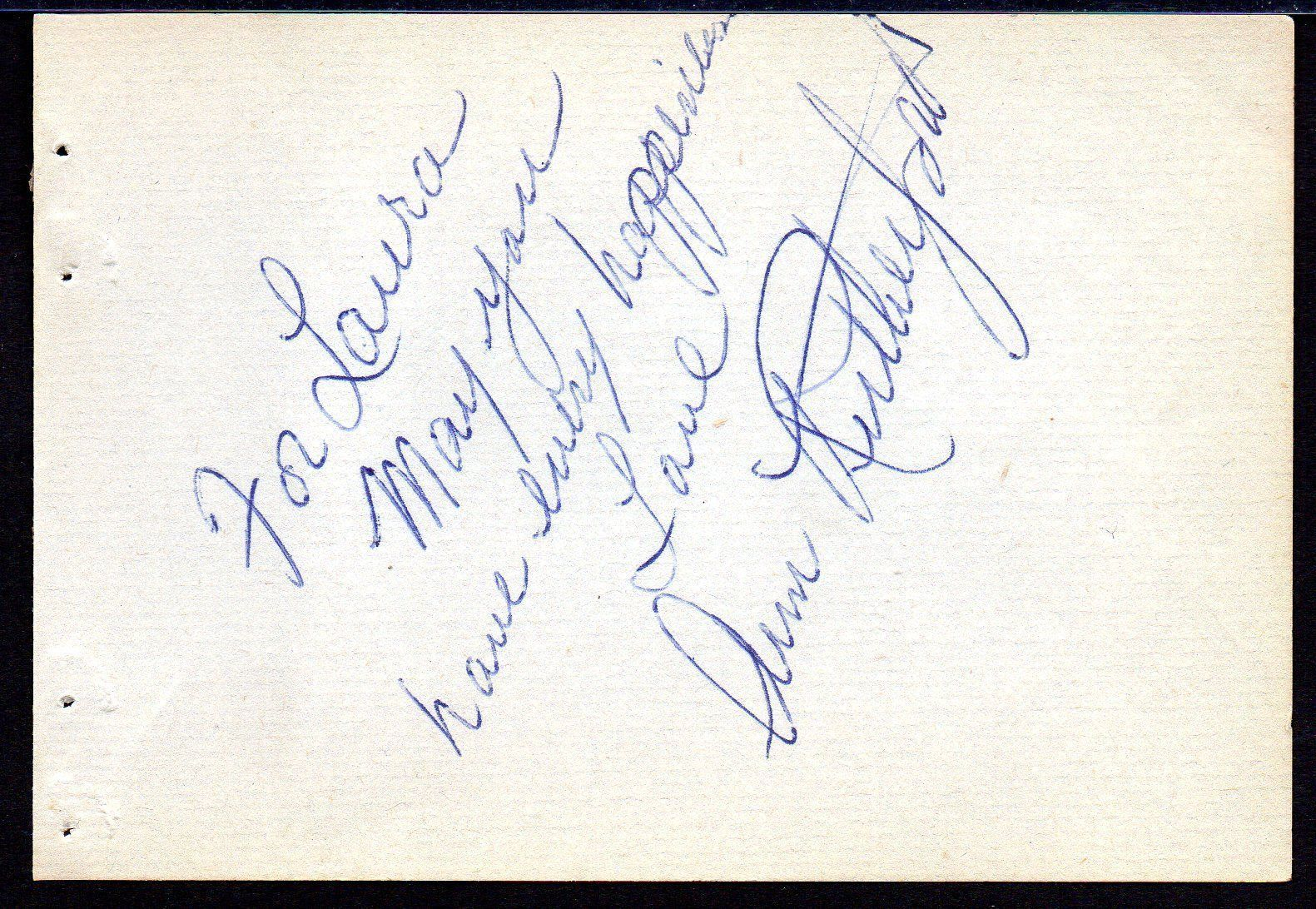ANN RUTHERFORD Autograph signed on album page