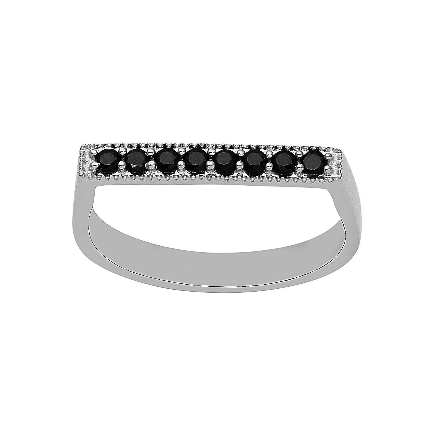 Primary image for 2.5 mm Black Spinel 925 Sterling Silver Stackable Women Wedding D Shape Ring