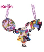 King Mouse Rabbit Clock Necklace Acrylic Pendant  2016 News Accessories ... - $13.87