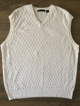 Men's V-Neck Greg Norman 100% Cotton Sweater Vest Size XL - Cream - $18.65