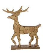 "18.75"" Country Cabin Faux Wood Deer Decorative Christmas Table Top Figurine - $123.14 CAD"