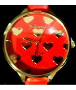 Geneva Women Ladies Red Leather Band Gold Heart shaped Valentines Day Watch - $9.89