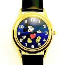 Mickey Co. Gold Tone, Fossil Made, Easy Read Bright Blue Dial' Leather B... - $123.50