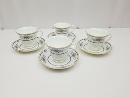 Wedgwood Bone China Cup & Saucer Set of 4 Charlotte White Gold Trim Engl... - $38.69