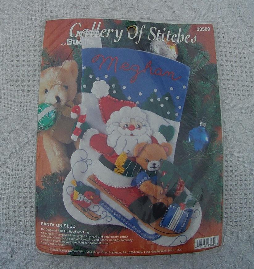 New Vintage 1995 Bucilla Santa on a Sled Christmas Stocking Felt Applique Kit #3 - $19.95