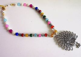 Indian Bollywood Oxidized Pendant Pearls Ethnic Necklace Women's Fashion Jewelry image 5