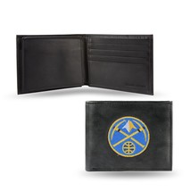 Denver Nuggets Wallet Embroidered Billfold Official NBA RICO Leather Black - $33.45