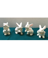 Set of Four Iridescent White Rabbits With Flower Garlands Figurines Easter  - $14.00