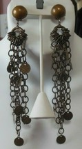 Vtg Designer Signed Laura Vogel NY Long Chain Disk Runway Dangle Clip Ea... - $123.75