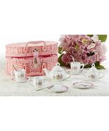 Delton Products Porcelain Lavender & Roses Tea Set for Two, Pink Basket ... - £33.59 GBP