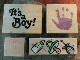 Lot or 4 New Baby Wood Mounted Rubber Stamps It's a Boy! Girl! Hand Print Border - $19.79