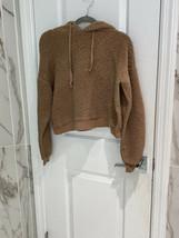 Forever 21 Women's Brown Soft Fuzzy Furry Hoodie Sweatshirt Size Medium - $10.18