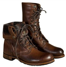 Handmade Men Brown Leather High Ankle Military Boot image 5
