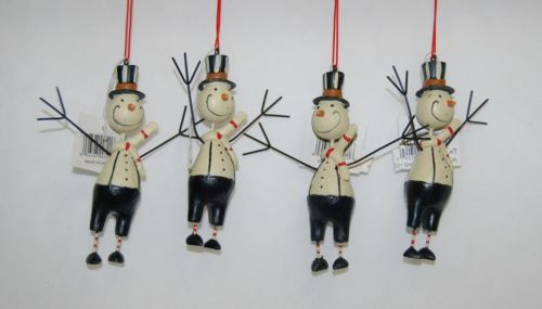 Youngs Incorporated 90321 Black 4 Inch Folk Art Snowman Ornaments Four Set