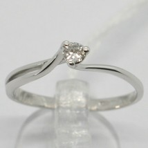 White Gold Ring 750 18K, Solitaire with Diamond Carat 0.07, Criss Crossed, Italy image 1