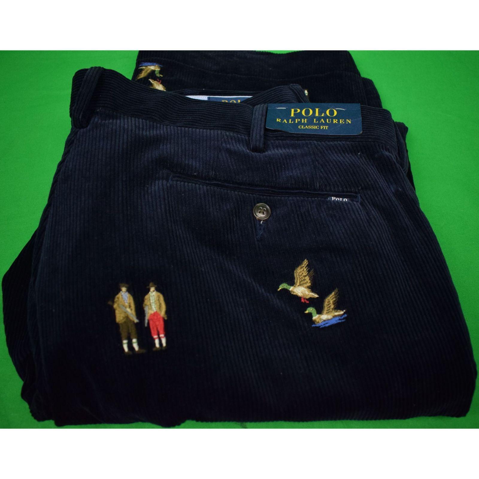 Polo Ralph Lauren Navy Corduroy w/ Embroidered Huntsmen/ Ducks & X'd Guns Classi - $250.00