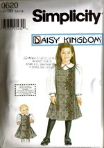 UNCUT 2001 Simplicity Pattern 0620 DAISY KINGDOM Jumper & Doll Dress Siz... - $11.99