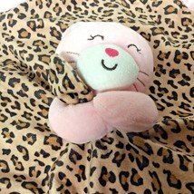 Carters Pink & Brown Print Kitty Cat Bear and Satan Plush Lovey Security... - $15.74 CAD