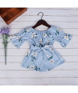 Summer Baby girl clothes Off Shoulder Print Bow Jumpsuit Cute baby girl ... - $13.99