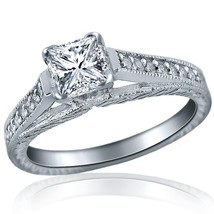 Cathedral Princess Cut Diamond 0.82 Ct Engagement Pattern Ring 14k White... - $1,484.01