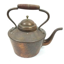 Vintage Copper & Brass Tea Kettle Pot with Wooden Handle With Lid Bongus... - $38.66