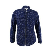 Women's Blue Michael Kors Women's Star Lock Zip Front Shirt sz L - $47.34