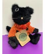 Boyds Bears Archive Collection Pumpkin Puss Black Cat Orange Sweater #1364 - $13.85