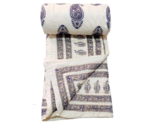 White Handmade Quilt For Sale King Size 100 Percent Cotton Bedspread For Winter