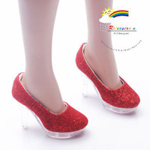 """Releaserain Doll Shoes Glitter Red Clear Pumps FIT 22"""" American Model Dolls - $24.74"""