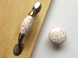 Dresser Knob Drawer Knobs Pulls Handles White Pink Heart Kitchen Cabinet Knobs image 3