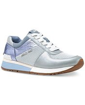 Michael Kors MK Women's Allie Trainer Leather (6.5, Pale Blue)