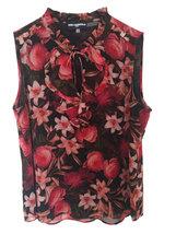 K LAGERFELD PARIS Floral Blouse black/rose M - $49.00